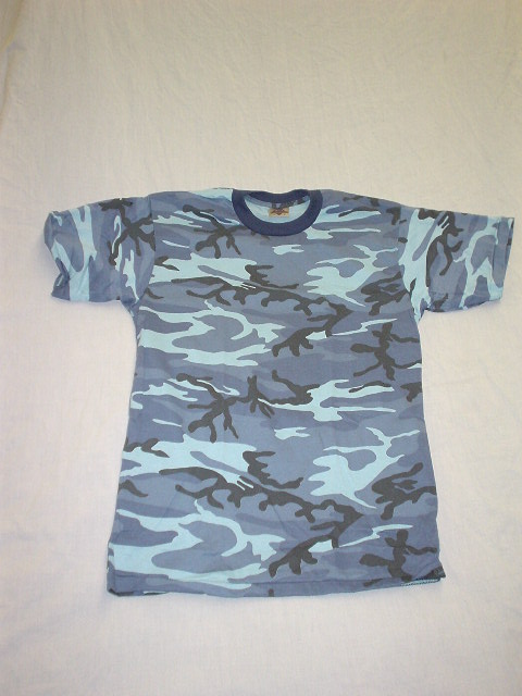 CAMO BLUE MILITARY STYLE T-SHIRT **in sale**