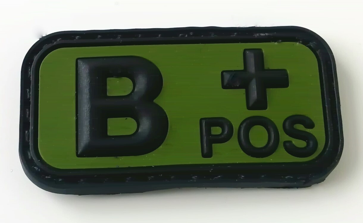 B POS Blood type patch rubber/velcro